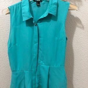 Light blue short sleeve blouse